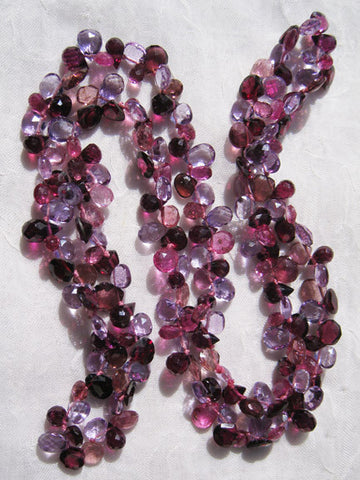 "Radiance Ruffled 24"" Necklace (amethyst/garnet/pink tourmaline)"
