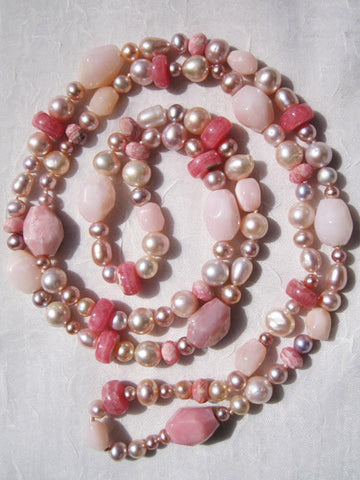 "Pink Sunrise 36"" Tributary (pearl/pink opal/rhodocrosite)"