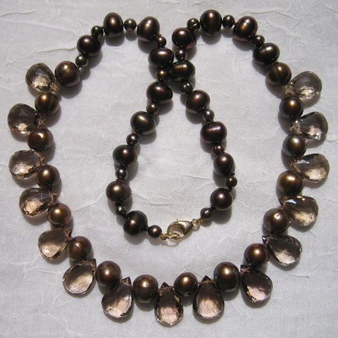 "Champagne Quartz TearDrop Chocolate Pearl 16"" Necklace"