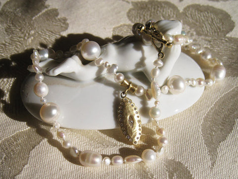 "Countess 17"" Pearl Necklace, Diamond Scallop Pendant(.37ctw)(18k) (OneofaKind)"