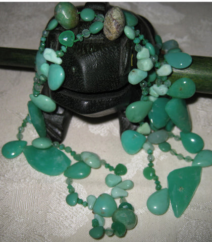 "Chrysoprase Harmonic 38"" RainForest Necklace (OneofaKind)"