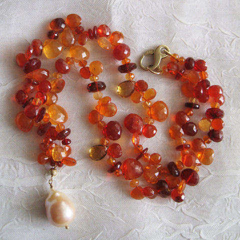 "Fire Opal 16"" OneofaKind Western Sunset Necklace, Baroque Pearl(14k)"