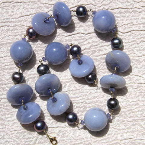 "Smooth Chalcedony Iolite & Peacock Pearl Rapt 16"" Concurrence(14k)"