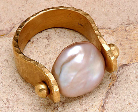 Large Button Pearl Ring(18k)