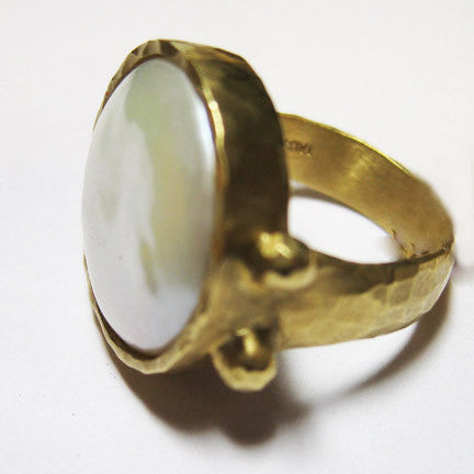 Large (15mm) Coin Pearl HammeRing(18k)