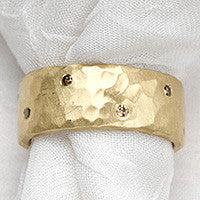 Cognac Diamond Wide HammeRing(.28cttw)