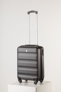 Hard Shell Carry On Luggage Black Runway Suitcase Milan Range