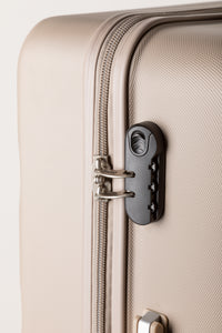 Secure Combination Locking Family Suitcase - Champagne