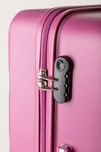 Secure Combination Locking Family Suitcase - Pink