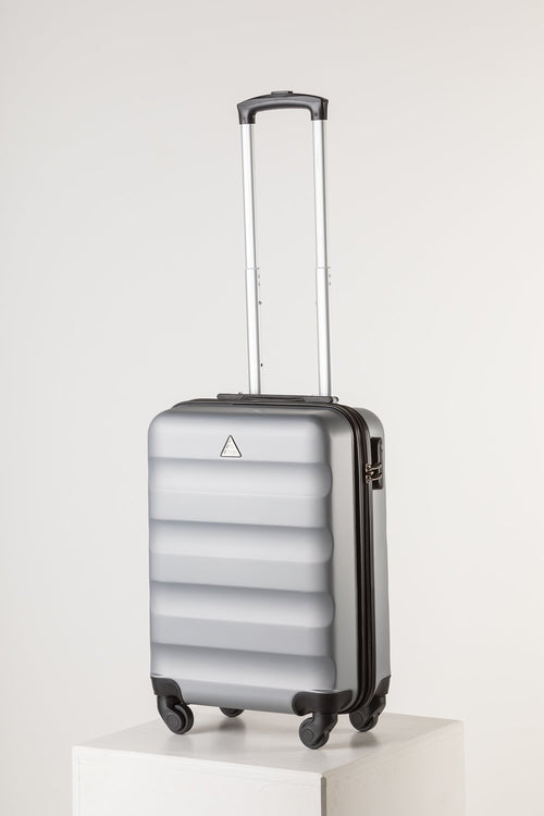 Hard Shell Carry On Luggage Silver Runway Suitcase Milan Range