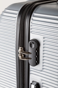Secure Locking Suitcase, Lightweight Silver