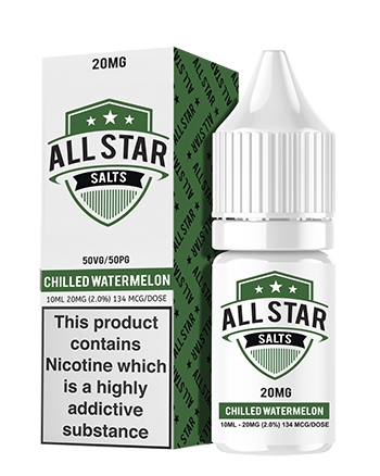 Chilled Watermelon Nic Salt eLiquid by All Star - Chilled Watermelon eLiquid by All Star is a luscious blend featuring sweet watermelon mixed with cooling menthol. - Vapox UK LTD (5552947626145)