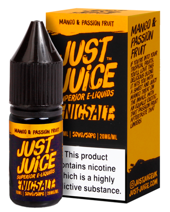 Mango & Passion Fruit e-liquid is a tropical fruit blend featuring a ripe mango and tart passionfruit.   This e-liquid is 50%VG which is ideal for flavour and discreet clouds. We recommend using this e-liquid in a pod device or starter kit. Just Juice Nic Salt - Vapox UK LTD (5652439498913)