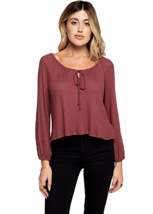 Tie Front Cropped Waffle Top - Red Brown