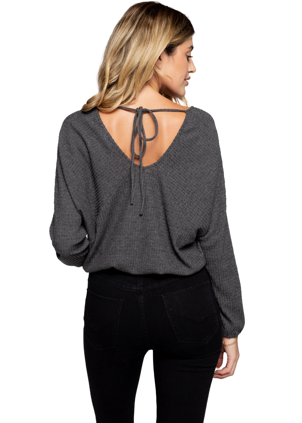Butterfly Waffle Top - Charcoal