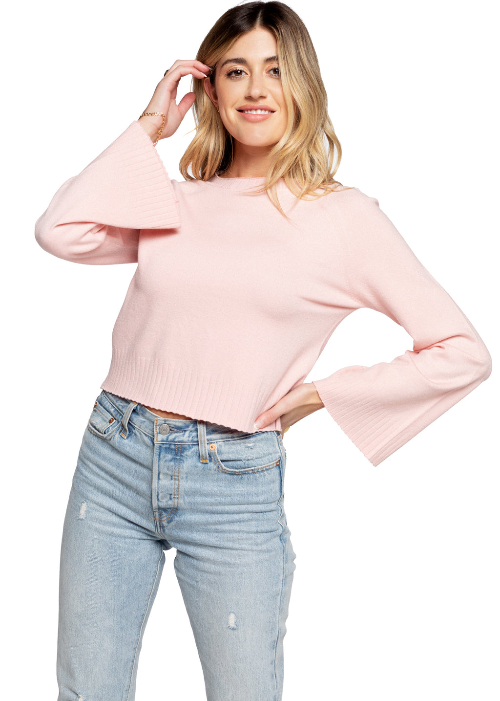Cropped Sweater - Light Pink