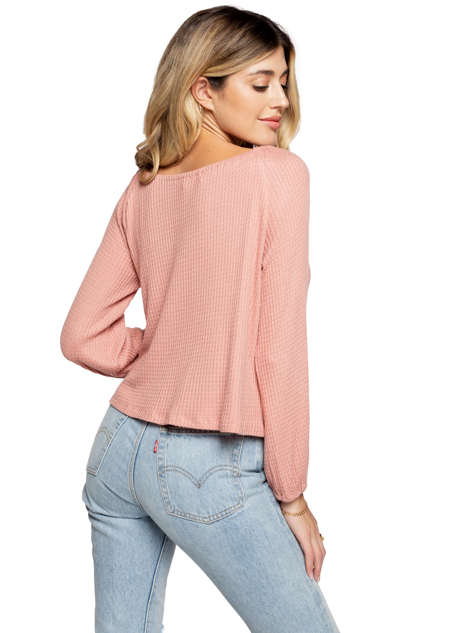 Tie Front Cropped Waffle Top - Blush