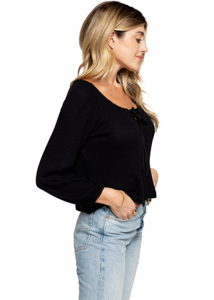 Tie Front Cropped Waffle Top - Black
