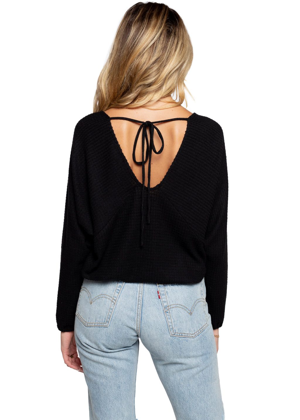 Butterfly Waffle Top - Black