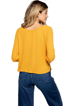 Tie Front Cropped Waffle Top - Mustard