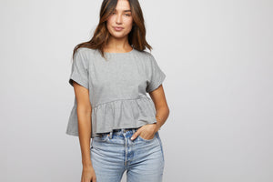 Ruffle Tee - Grey - Made in USA