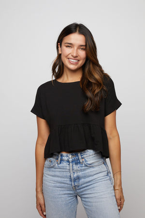 Ruffle Tee - Black - Made in USA