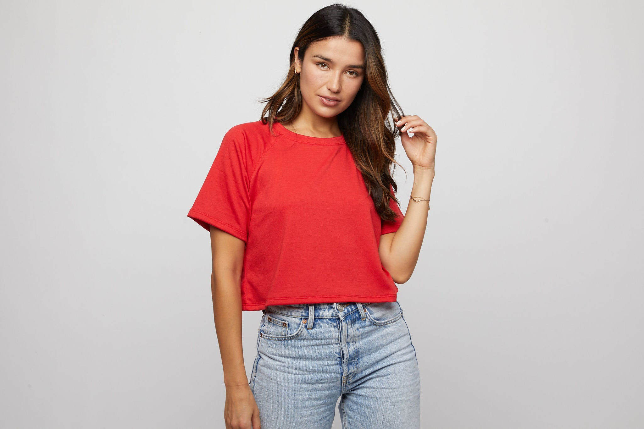 French Terry Tee - Red - Made in USA