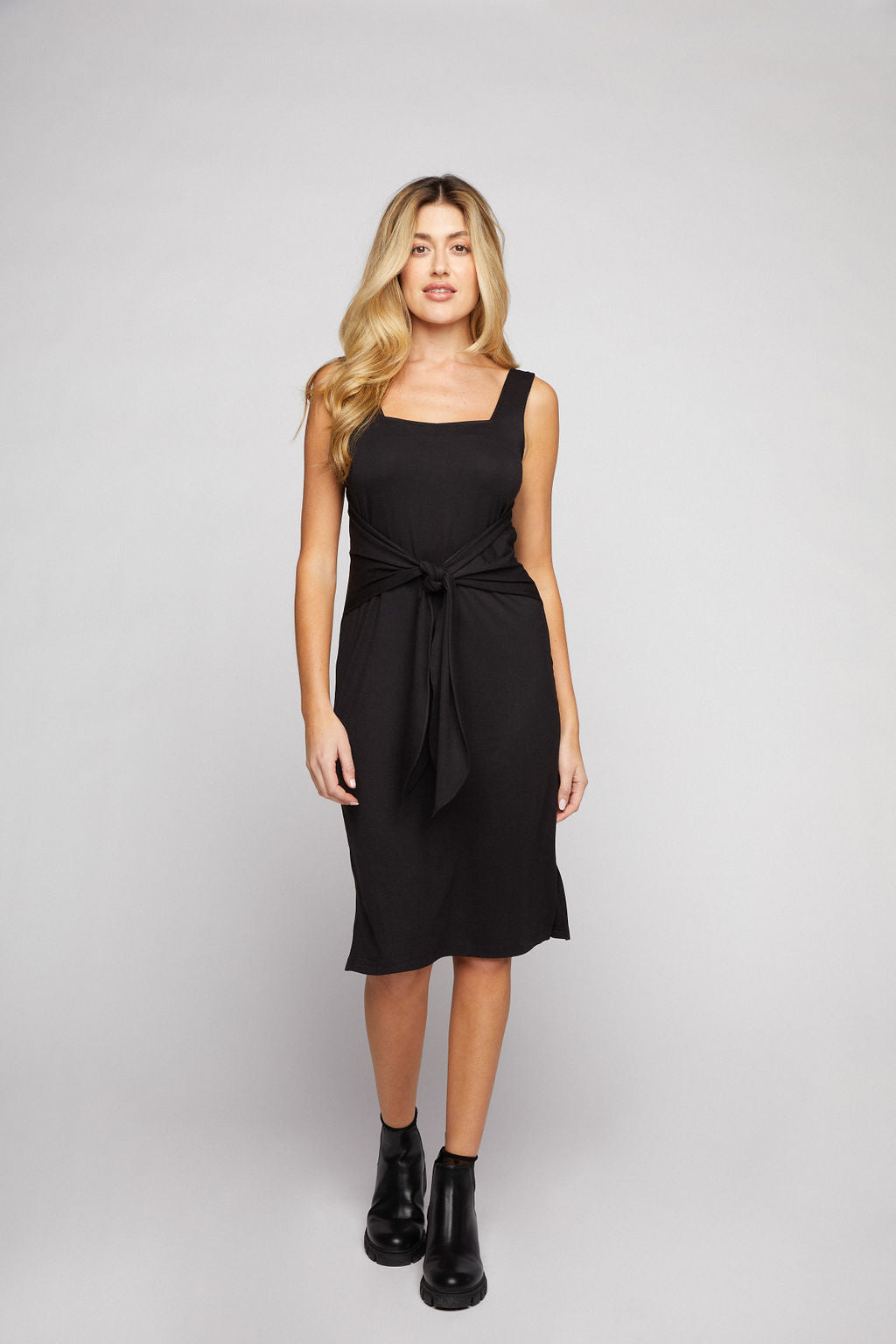 Tie Front Midi Dress - Black