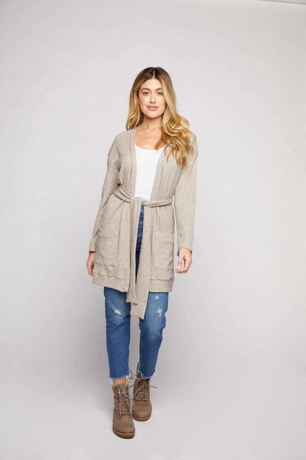 Belted Cardigan - Oatmeal