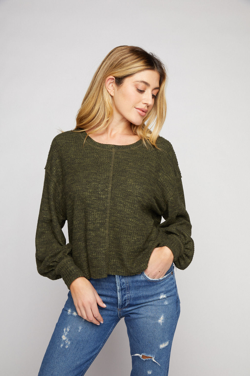 Waffle Top - Olive