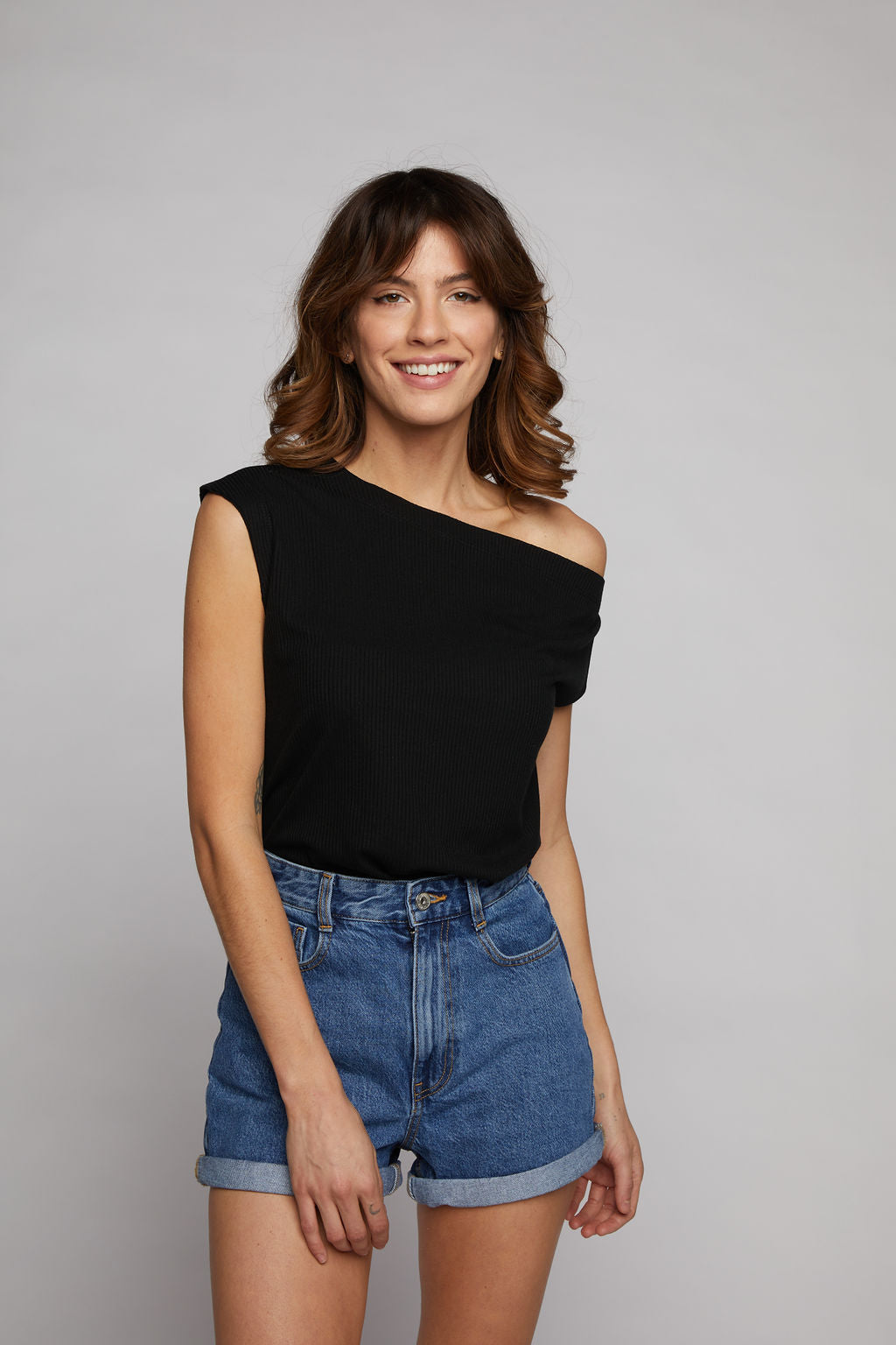 Drop Shoulder Top - Black