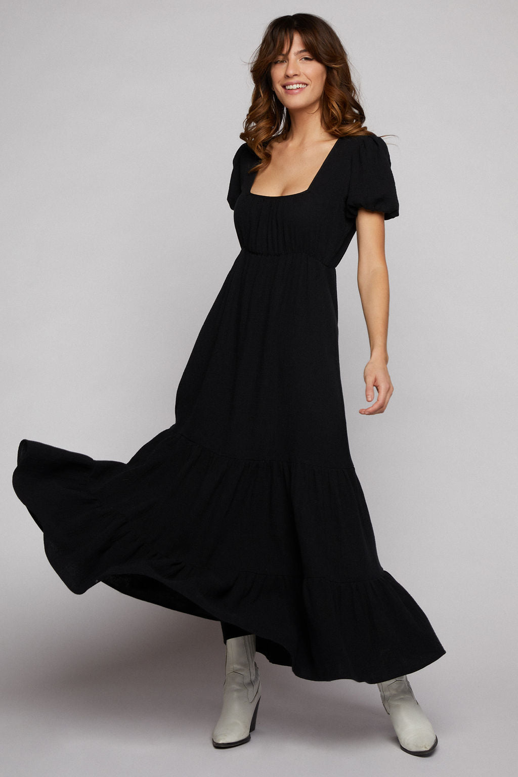 Raya Cotton Maxi Dress - Black