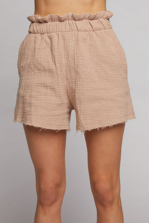 Marina High Waisted Shorts - Taupe