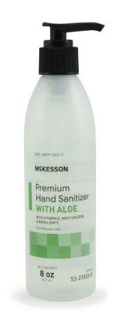 Hand Sanitizer with Aloe McKesson Premium 8 oz. Ethanol Gel Pump Bottle
