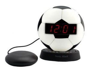 Sonic Glow Soccer Ball Alarm Clock with recordable alarm  and Sonic Bomb bed shaker