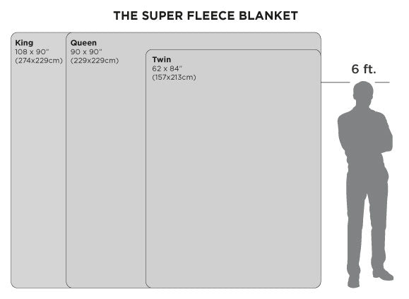 Super Fleece Blanket Size Chart