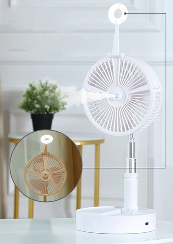 Portable floor fan with humidifier and led lamp