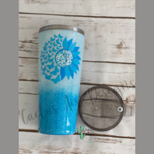Load image into Gallery viewer, Blue Ombre with Sunflower turning into Butterflies