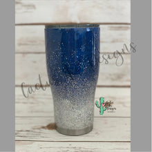 Load image into Gallery viewer, Blue and Silver Glitter Coated Tumbler