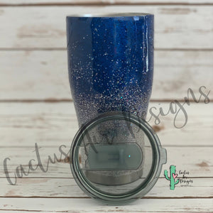 Blue and Silver Glitter Coated Tumbler