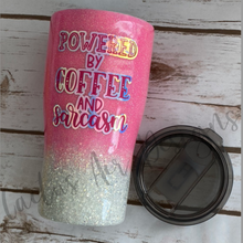 Load image into Gallery viewer, Pink and Silver with Powered by Coffee and Sarcasm decal