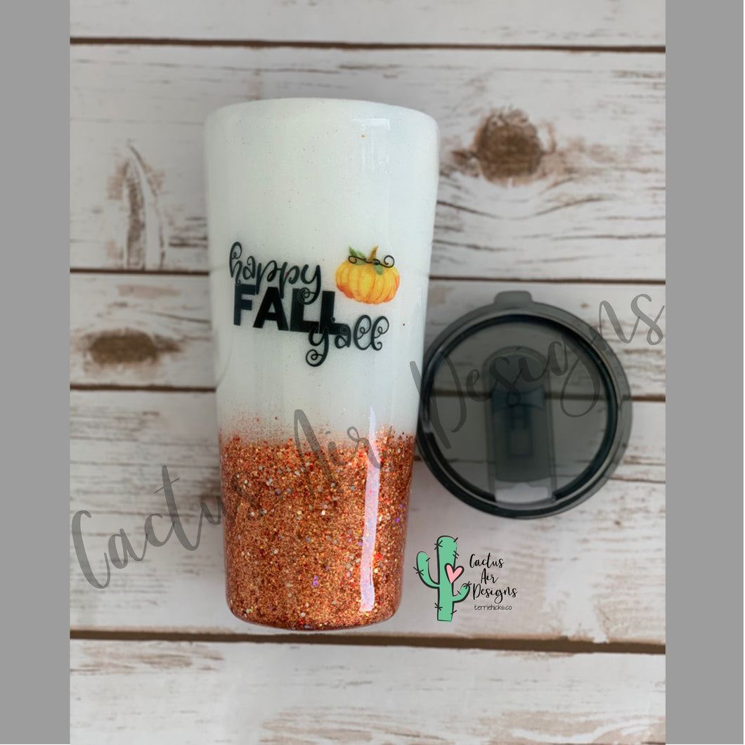 Happy Fall Y'all Glitter Coated Stainless Steel Tumbler
