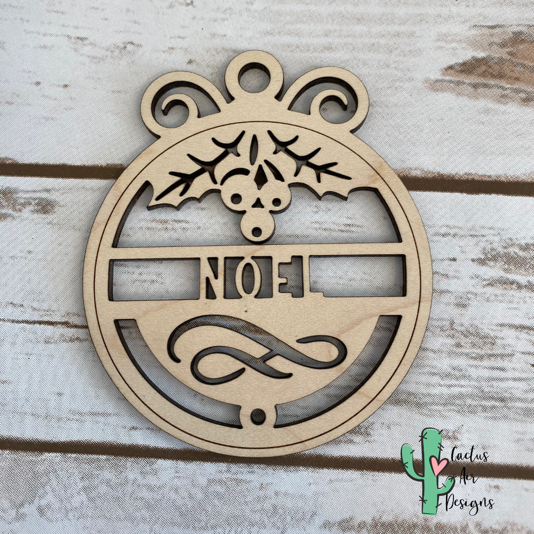 Swirl Top Personalized Wood Ornament