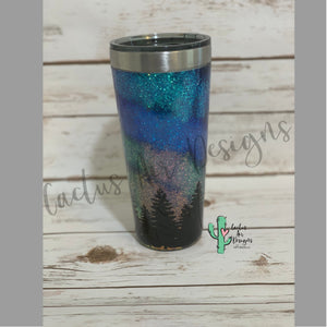 Northern Lights with Trees Tumbler