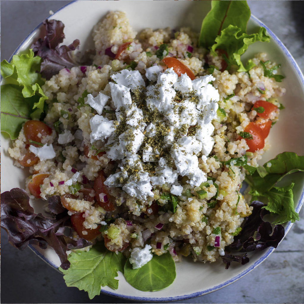 Vegan Quinoa and Feta Summer Salad