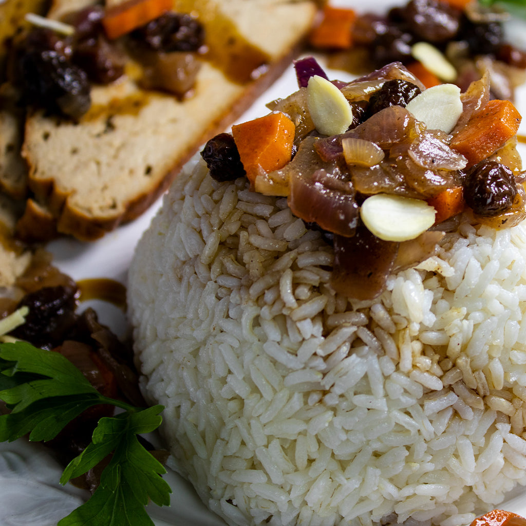 Dried Fruit Topped Rice and 'Turkey' Slices