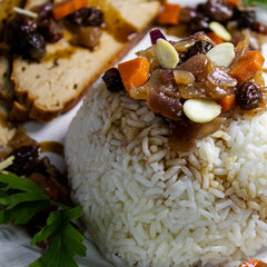 Vegan Dried Fruit Topped Rice and 'Turkey' Slices