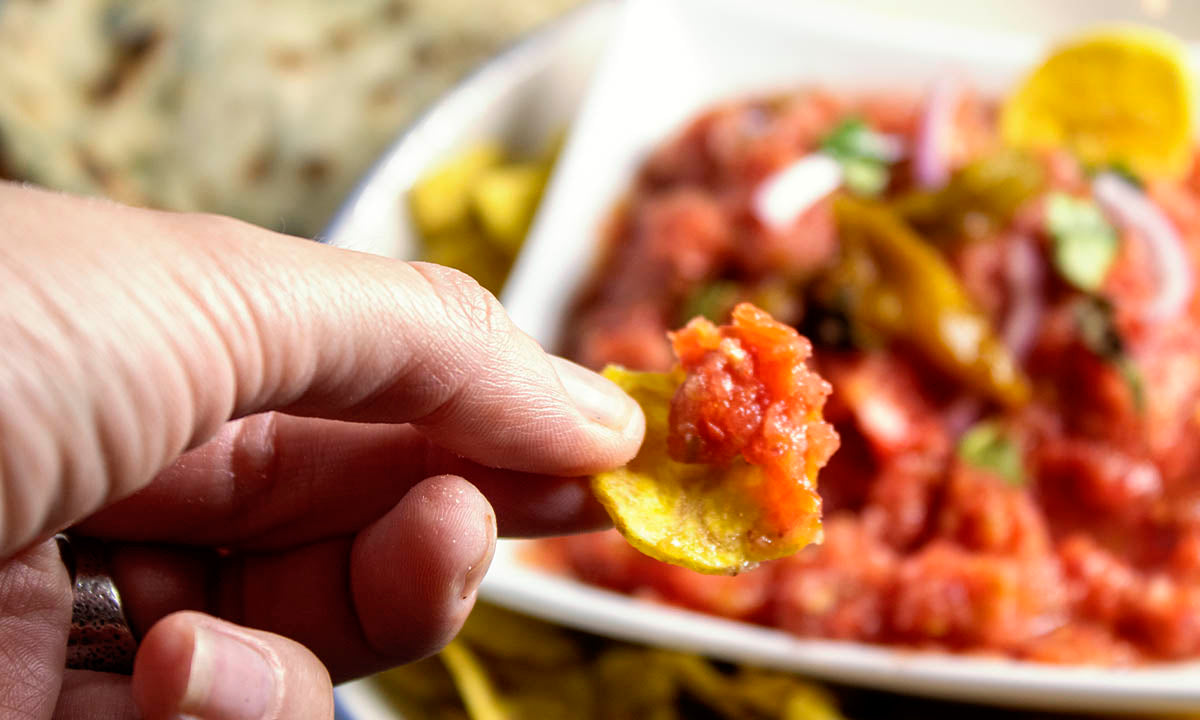 Vegan homemade mexican salsa with plaintain chips
