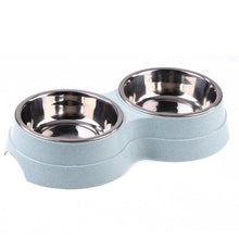Load image into Gallery viewer, Dog Double Bowl Puppy Food Water Feeder Cute Stainless Steel Pets Drinking Dish Feeder Pets Supplies Feeding Dishes Dogs Bowl