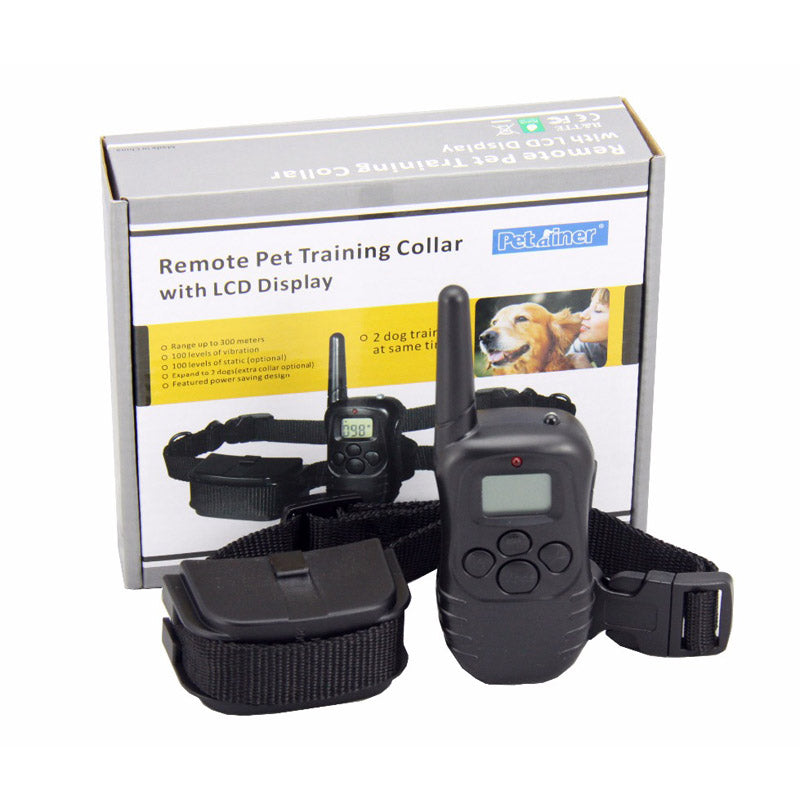 Petrainer  PET988D Remote LCD 100LV 300M l Electric Shock Vibration Remote Anti Bark Pet Dog Training Collar